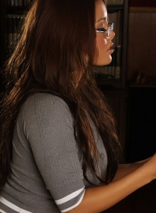 Perfect Busty Babe Justene Jaro Shows Off Her Nerdy Side As She Strips - Picture 2