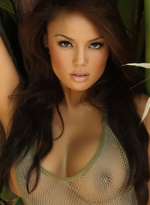 Sexy Babe Justene Jaro Shows Off In A Skimpy Mesh Tank Top Outdoors - Picture 2