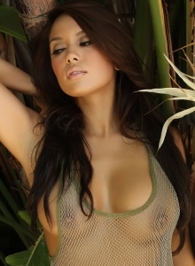 Sexy Babe Justene Jaro Shows Off In A Skimpy Mesh Tank Top Outdoors - Picture 3