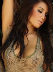 Sexy Babe Justene Jaro Shows Off In A Skimpy Mesh Tank Top Outdoors - Picture 5