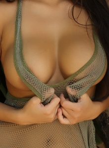 Sexy Babe Justene Jaro Shows Off In A Skimpy Mesh Tank Top Outdoors - Picture 6