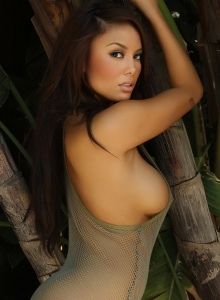 Sexy Babe Justene Jaro Shows Off In A Skimpy Mesh Tank Top Outdoors - Picture 7
