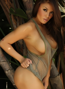 Sexy Babe Justene Jaro Shows Off In A Skimpy Mesh Tank Top Outdoors - Picture 8