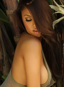 Sexy Babe Justene Jaro Shows Off In A Skimpy Mesh Tank Top Outdoors - Picture 9
