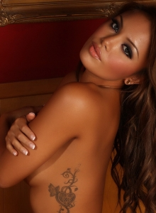 Busty Beautiful Babe Justene Jaro Teases In Sexy White Lace Matching Bra And Panties - Picture 9