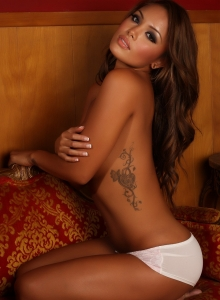Busty Beautiful Babe Justene Jaro Teases In Sexy White Lace Matching Bra And Panties - Picture 10
